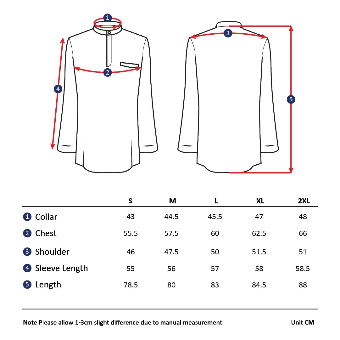 Baju Melayu Size Chart