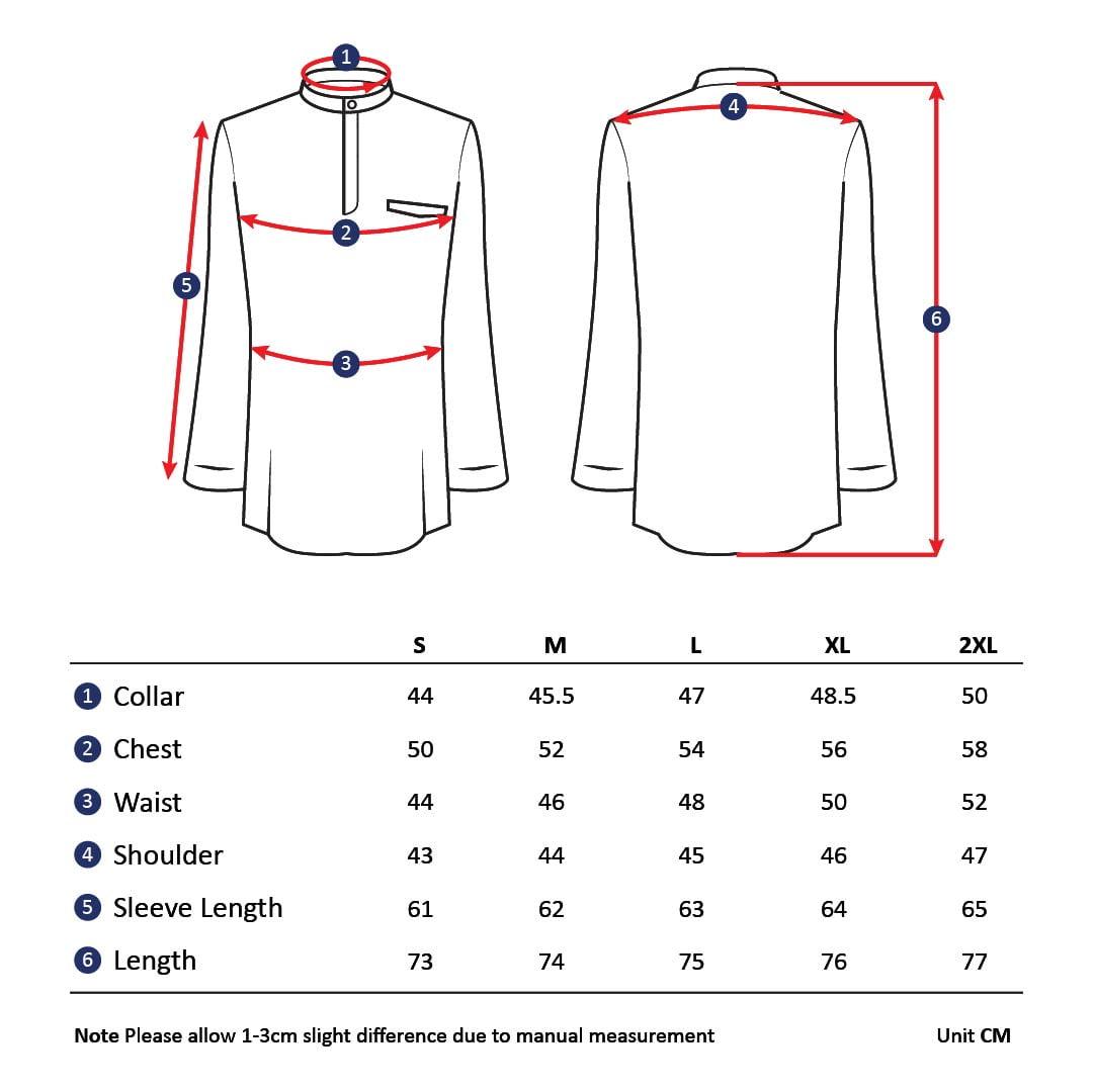 Skinny Fit Kurta Size Chart