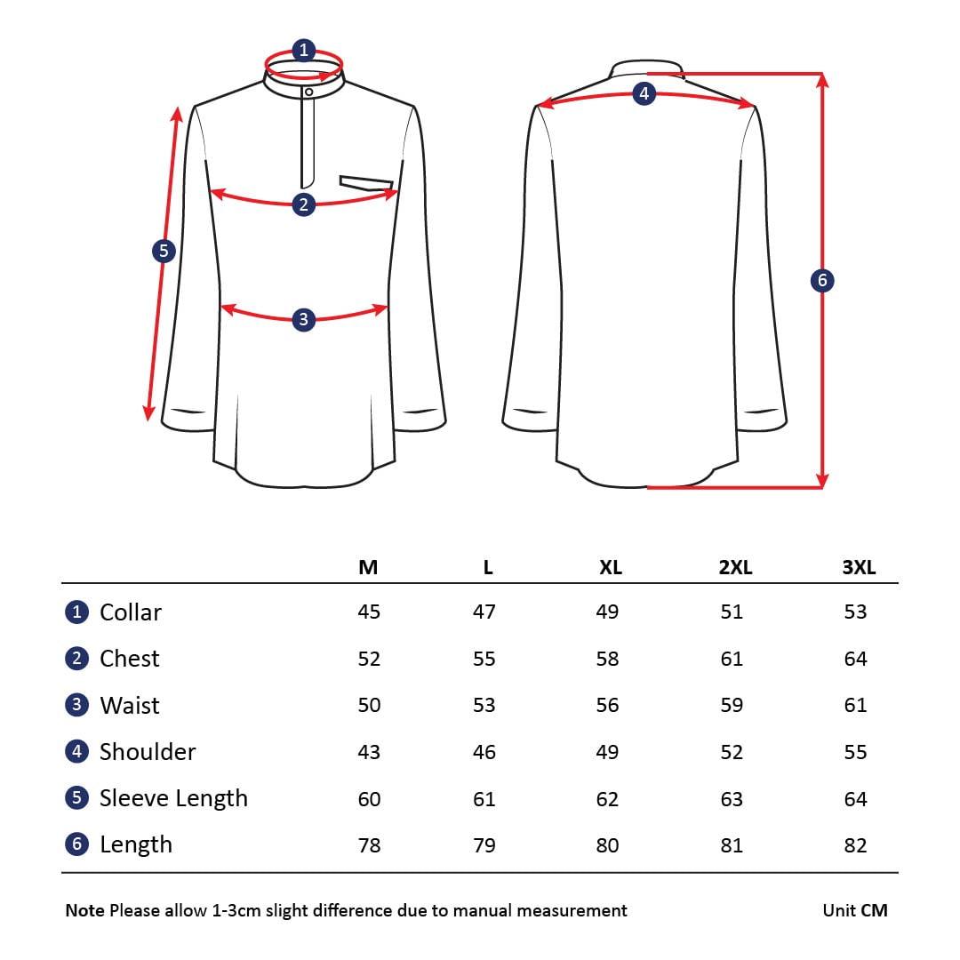 Slim Fit Kurta Size Chart