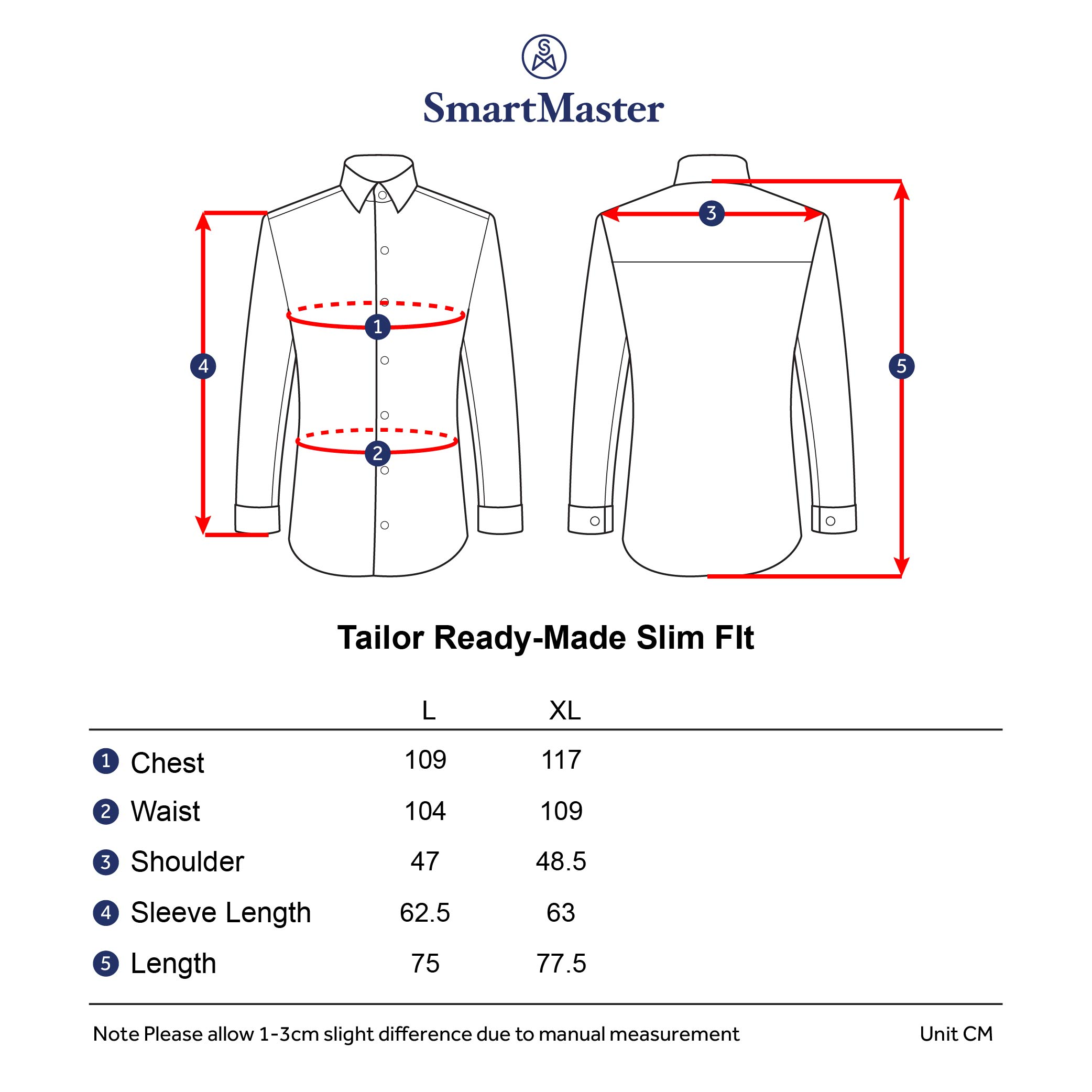 SmartMaster Tailor Ready-Made slim fit casual long sleeve shirt